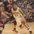 Jeff Teague had a career-high 17 assists in the win over Chicago. (Photo by Pacers Sporst and Entertainment)