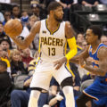 Paul George scored 31 points in the Pacers loss to New York. (Photo by Pacers Sports and Entertainment)