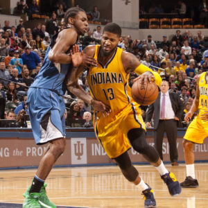 Paul George scored 37 points in the loss to Minnesota. (Photo by Pacers Sports and Entertainment)