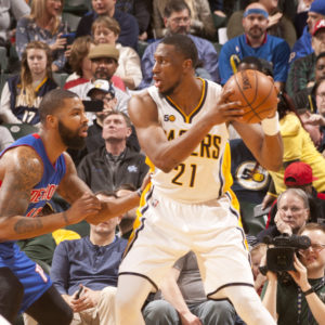 Thaddeus Young scored 18 points in the Pacers win over Detroit.  (Photo by Pacers Sports and Entertainment)
