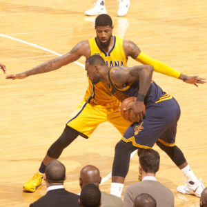 LeBron James is guarded by Paul George in Game 3. (Photo by Pacers Sports and Entertainment)