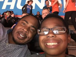 Elias and Cliff at Thunder vs. Pacers in Oklahoma City, 2016.