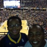 Elias and Cliff at Thunder vs. Pacers in Indianapolis, 2014.