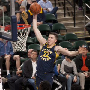 Rookie T.J. Leaf scored 17 points against Portland on Friday night. (Photo by Pacers Sports and Entertainment)