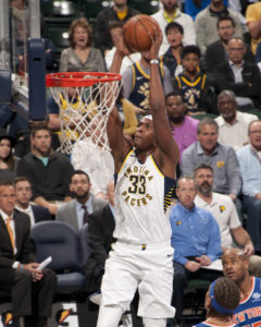 Myles Turner scored 12 points in the Pacers win over New York. (Photo by Pacers Sports and Entertainment)