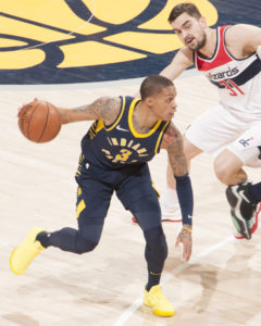 Joe Young scored 17 points on Monday night. (Photo by Pacers Sports and Entertainment)